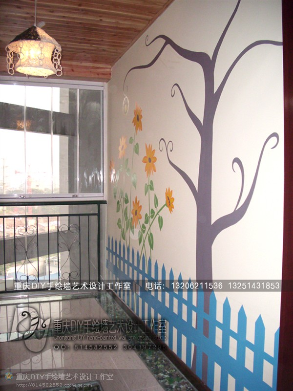 【重庆手绘墙-diy墙绘】回龙湾城市星空-进门向日葵墙画