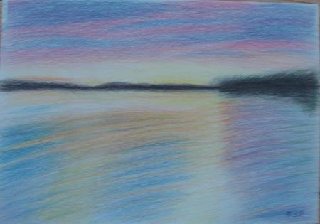 彩铅手绘海边风景 片