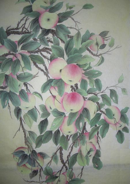 工笔画桃子步骤图