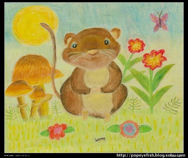 6-8岁的小朋友的油画棒作品, 油画棒是一种不错的材料,它色彩