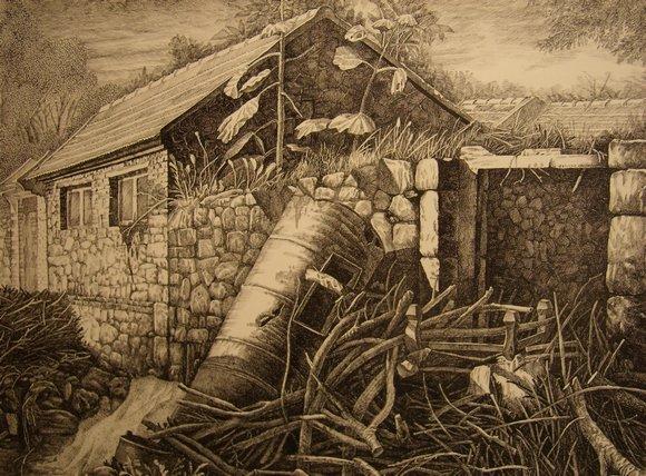 (38×54)这幅钢笔画描绘的是我的两个朋友去崂山采风的场面,近处