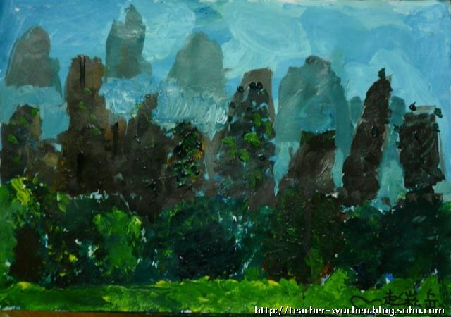 2009-5-6作品 航天城 丙烯画-风景 油画棒-小汽车