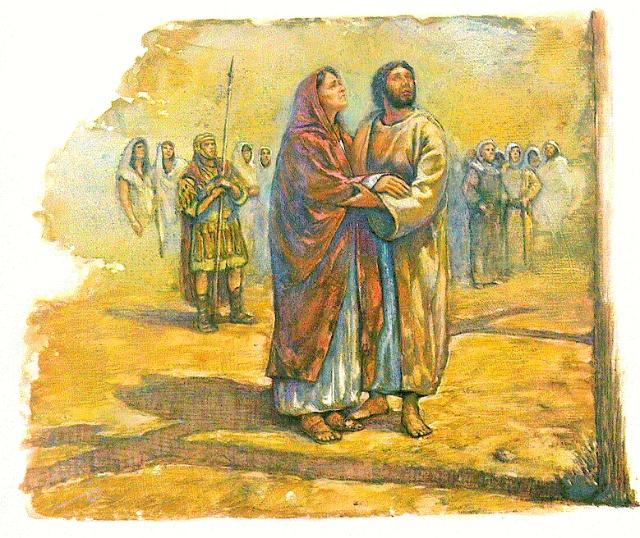十字架前,马利亚和约翰目睹耶稣被钉死在十字架上-孝敬我们的妈妈