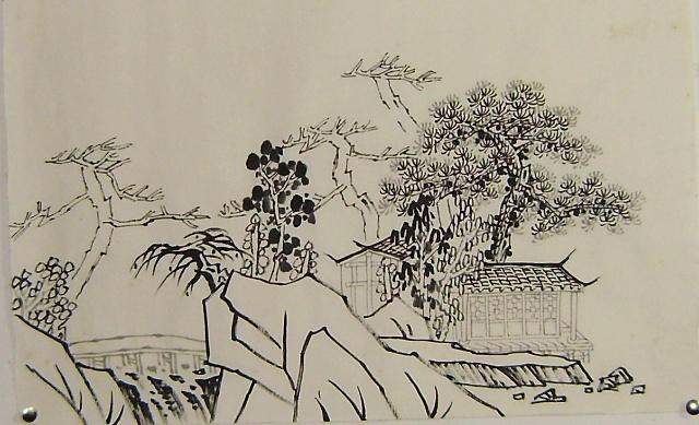 金碧山水学习心得----松树画法