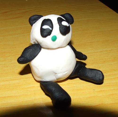 橡皮泥作品——熊猫和小金鱼
