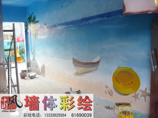 幼儿园走廊海景彩绘-南阳市中国风墙体彩绘工作室
