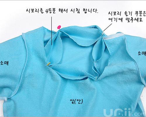 DIY童装圆领短袖T恤 裁剪图及制作